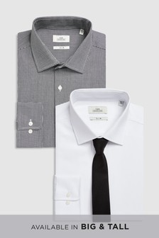 Mini Check And Textured Shirts Two Pack With Tie