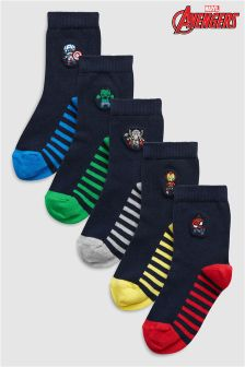 Marvel® Avengers Embroidery Socks Five Pack (Older)