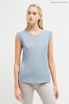 French Connection Blue Cap Sleeve Top