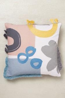 Poduszka w bloki kolorów z lamówką