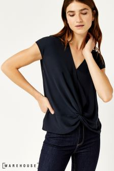 Warehouse Blue Short Sleeve Knot Front Top