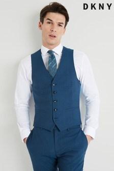 DKNY Slim Fit Teal Jaspe Waistcoat