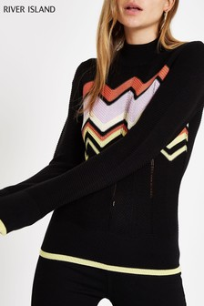 River Island Black Chevron Jumper