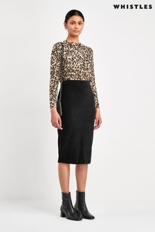 Whistles Black Velvet Jersey Tube Skirt