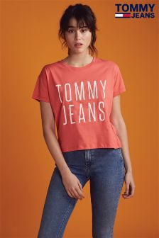 Tommy Jeans Orange Cropped Logo Tee
