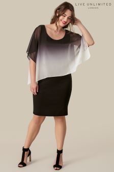Live Unlimited Black And Grey Ombre Cape Dress
