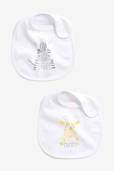 2 Pack Mummy Daddy Slogan Regular Bibs