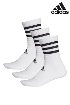 adidas Kids White 3 Stripe Crew Socks Three Pack