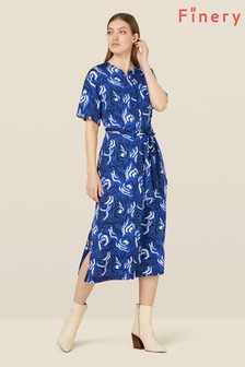 Finery London Blue Lizzie Abstract Print Dress