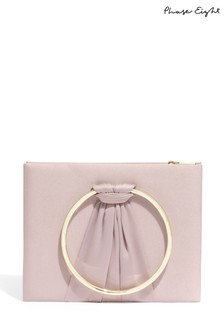 Phase Eight Purple Rhia Ring Handle Clutch