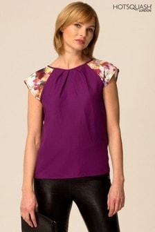 HotSquash Purple Floral Print Sleeve Top