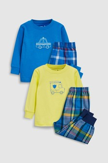 Transport Check Woven Pyjamas Two Pack (9mths-8yrs)