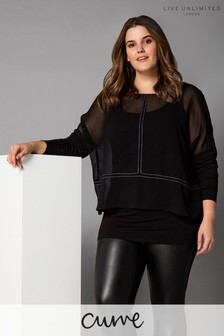 Live Unlimited Black Overlayer Top With Top Stitch Detail
