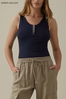 Karen Millen Blue Sassy Hook And Eye Jersey T-Shirt