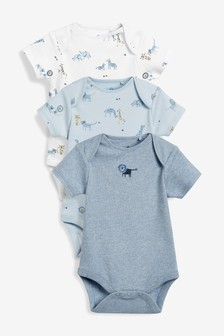 3 Pack Embroidered Lion Short Sleeve Bodysuits (0mths-2yrs)