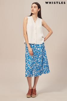 Whistles Cordillia Blue Print Pleated Skirt