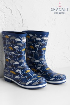 Seasalt Blue Deck Wellies Brolly Geo Dark Voyage Rain