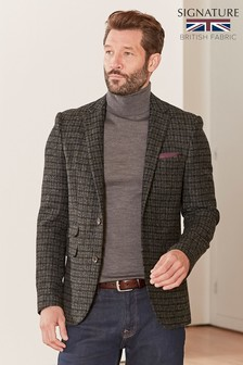 Slim Fit Moons Signature British Wool Check Blazer