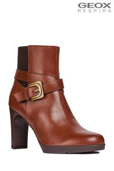 Geox Annya High Brown Leather Heeled Ankle Boots