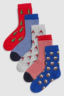 Christmas Socks Five Pack (Older)