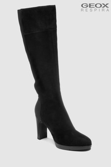 Geox Annya High Knee High Black Suede Boot