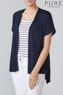 Pure Collection Blue Linen Relaxed Cardigan