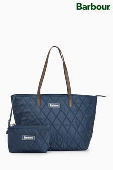 Barbour® Navy Witford Small Quilted Tote Bag