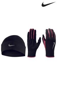 Nike Black Hat And Gloves Set