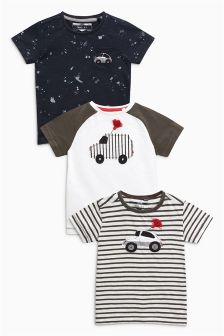 Embroidered Cars Short Sleeve T-Shirts Three Pack (3mths-6yrs)