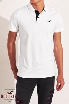 Hollister White Basic Poloshirt