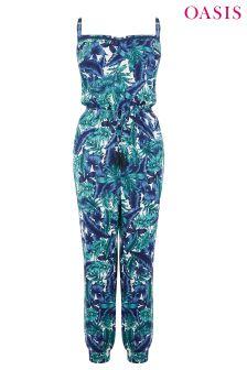 Oasis Blue Tropical Palm Jumpsuit