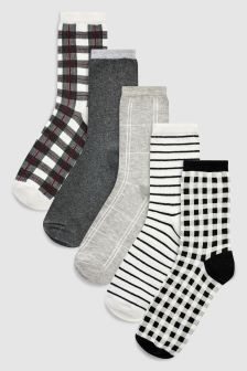 Check/Stripe Pattern Ankle Socks Five Pack
