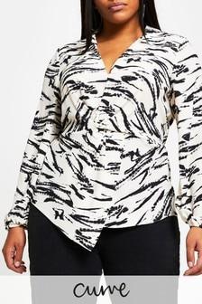 River Island Plus Black Twist Front Shirt