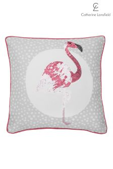 Catherine Lansfield Flamingo Embellished Cushion Easy Care