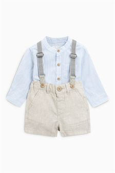 Stripe Shirt And Neutral Braced Shorts Set (3mths-6yrs)