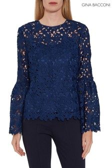 Gina Bacconi Blue Joella Floral Lace Top