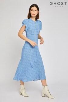 Ghost London Blue Pixie Blue Floral Crepe Dress