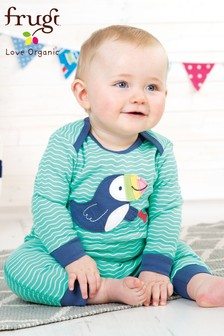 Frugi Organic Puffin Appliqué Footless Romper