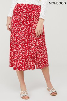 Monsoon Red Natty Ditsy Print Skirt
