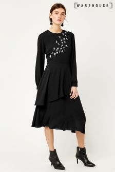 Warehouse Black Swallow Embroidered Dress