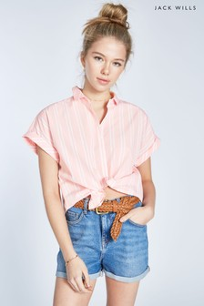 Jack Wills Pale Pink Stowell Stripe Dolman Sleeve Shirt