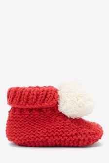 Pom Knitted Booties (Newborn)