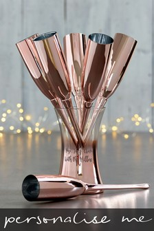 Set of 6 Personalised Champagne Flutes And Bucket