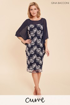 Gina Bacconi Blue Ariana Embroidered Cape Sleeve Dress
