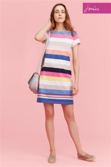 Joules Wide Multi Stripe Riviera Dress