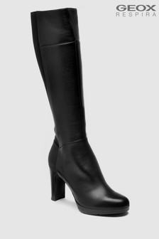 Geox Annya High Knee High Black Leather Boot