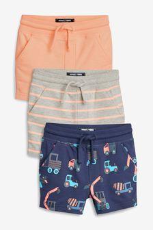 挖土機圖案螢光短褲三件裝 (3個月至7歲)