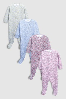 Ditsy Floral Print Sleepsuits Four Pack (0mths-2yrs)