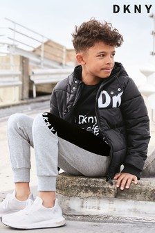 Pantalon de trening cu material aplicat DKNY gri