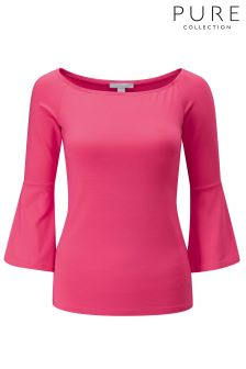 Pure Collection Pink Jersey Flute Sleeve Top